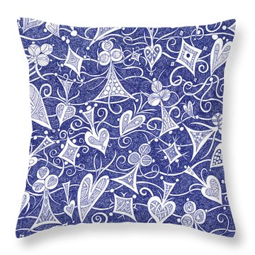 Hearts, Spades, Diamonds And Clubs In Blue Throw Pillow by Lise Winne