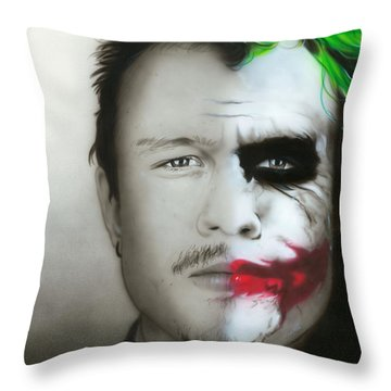 ' Heath Ledger / Joker ' Throw Pillow by Christian Chapman Art