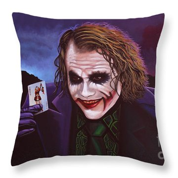 Heath Ledger As The Joker Painting Throw Pillow by Paul Meijering