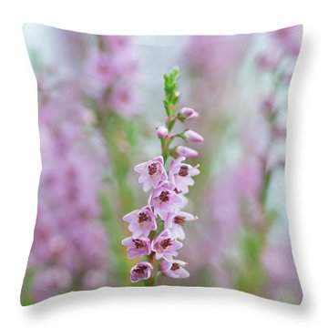 Heather In Bloom Throw Pillow
