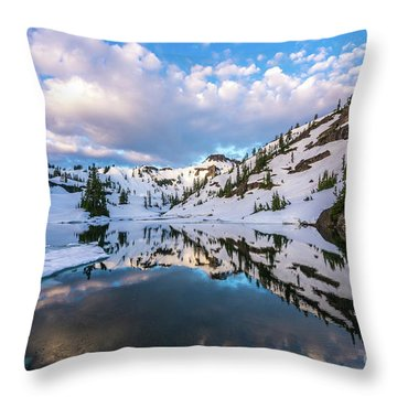 Heather Meadows Blue Ice Reflection Cloudscape Throw Pillow