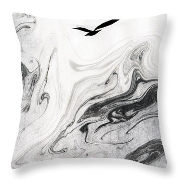 Heaven And Earth And One Lone Gull Throw Pillow