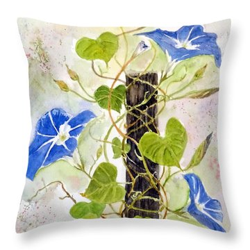 Heavenly Blue Twine Throw Pillow