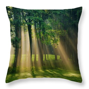 Throw Pillow featuring the photograph Heavenly Light Sunrise by Christina Rollo