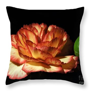 Heavenly Outlined Carnation Flower Throw Pillow