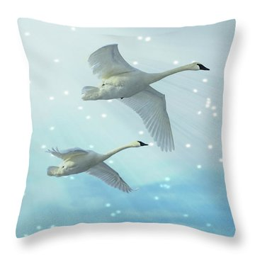 Throw Pillow featuring the photograph Heavenly Swan Flight by Patti Deters