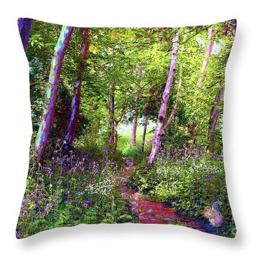 Heavenly Walk Among Birch And Aspen Throw Pillow by Jane Small