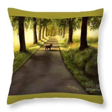 Serenity - Walk With Black Labrador Throw Pillow
