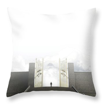 Heavens Gates And Silhouette Throw Pillow