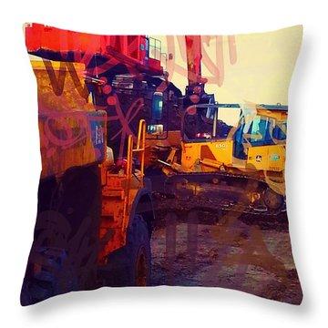 Heavy Equipment Graffiti Throw Pillow