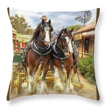 Heavy Horses Throw Pillow