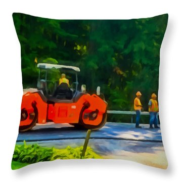 Heavy Tandem Vibration Roller Compactor At Asphalt Pavement Works For Road Repairing 2 Throw Pillow by Lanjee Chee
