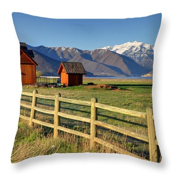 Heber Valley Ranch House - Wasatch Mountains Throw Pillow by Gary Whitton