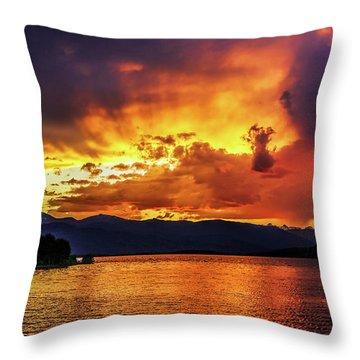 Hebgen Lake Sunset Throw Pillow