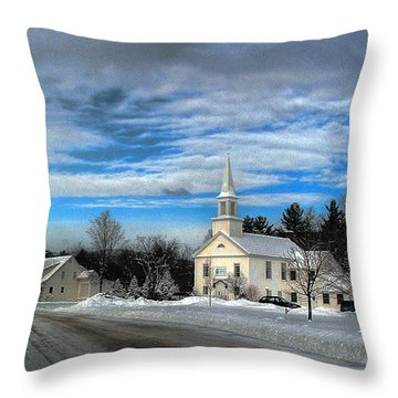 Throw Pillow featuring the photograph New Snow On Hebron Common by Wayne King