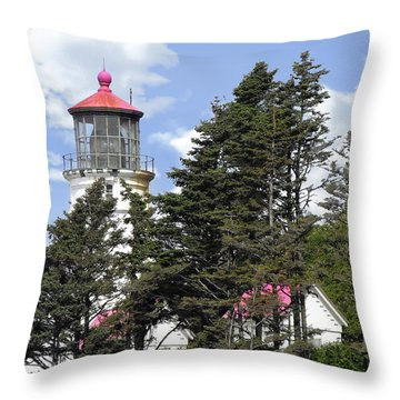 Heceta Head Lighthouse - Oregon's Iconic Pacific Coast Light Throw Pillow by Christine Till