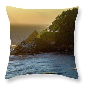 Heceta Head Lighthouse At Sunset Throw Pillow