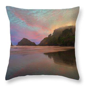 Heceta Head Lighthouse Foggy Sunset Throw Pillow by David Gn