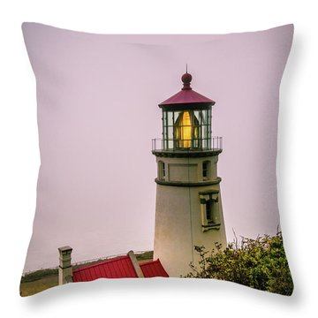 Heceta Head Lighthouse In The Fog Throw Pillow