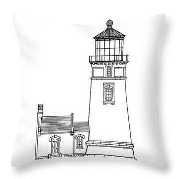 Heceta Head Lighthouse - Oregon - Blueprint Drawing Throw Pillow