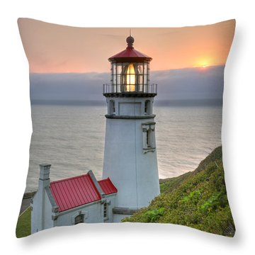 Heceta Lighthouse At Sunset Throw Pillow by Martin Konopacki