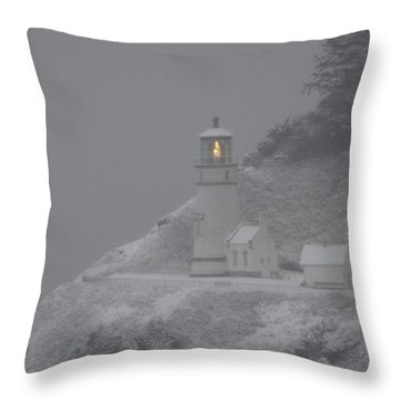 Heceta Lighthouse Snowstorm Throw Pillow