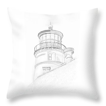 Hecitia Head Lighthouse Sketch Throw Pillow