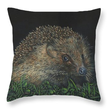 Throw Pillow featuring the painting Hedgehog by John Neeve