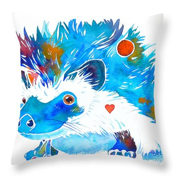 Hedgehog With Heart Throw Pillow