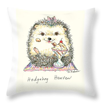 Hedgehog Heaven Throw Pillow by Denise Fulmer