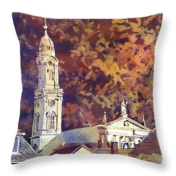 Throw Pillow featuring the painting Heidelberg Evening by Ryan Fox