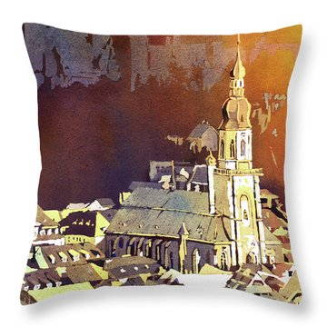 Throw Pillow featuring the painting Heidelberg Sunset- Germany by Ryan Fox