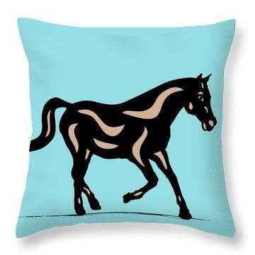 Heinrich - Pop Art Horse - Black, Hazelnut, Island Paradise Blue Throw Pillow