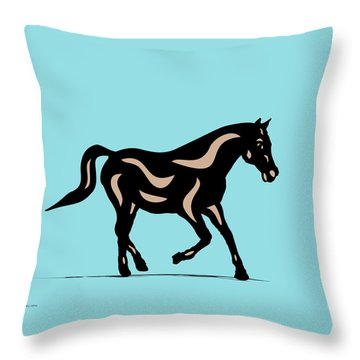 Heinrich - Pop Art Horse - Black, Hazelnut, Island Paradise Blue Throw Pillow