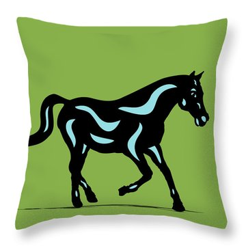 Heinrich - Pop Art Horse - Black, Island Paradise Blue, Greenery Throw Pillow