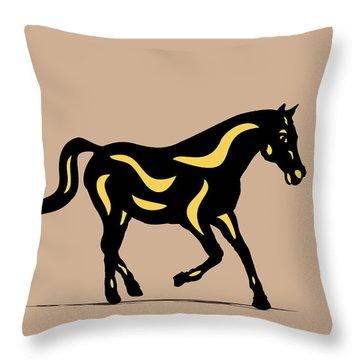 Heinrich - Pop Art Horse - Black, Primrose Yellow, Hazelnut Throw Pillow