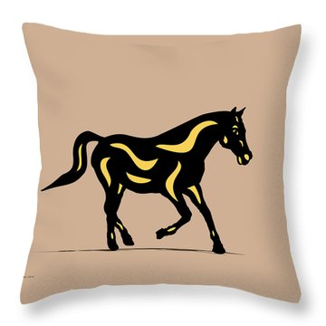 Heinrich - Pop Art Horse - Black, Primrose Yellow, Hazelnut Throw Pillow