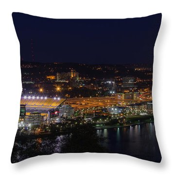 Heinz Field At Night From Mt Washington Throw Pillow