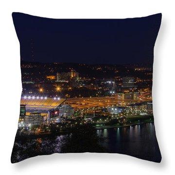 Heinz Field At Night From Mt Washington Throw Pillow