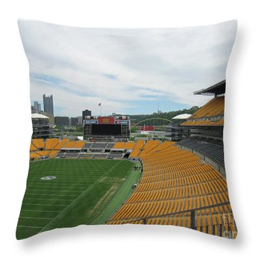 Heinz Stadium With Pittsburgh Skyline Throw Pillow