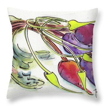 Throw Pillow featuring the painting Heirloom Beets And Garlic Scapes by Pat Katz