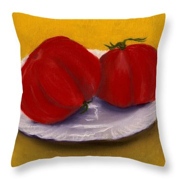 Throw Pillow featuring the drawing Heirloom Tomatoes by Anastasiya Malakhova