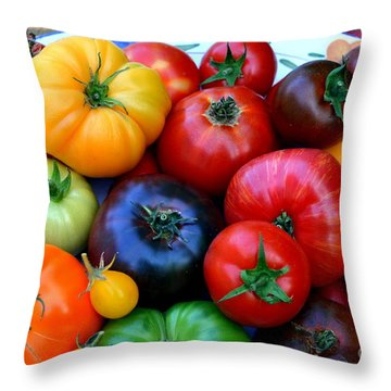 Throw Pillow featuring the photograph Heirloom Tomatoes by Vivian Krug
