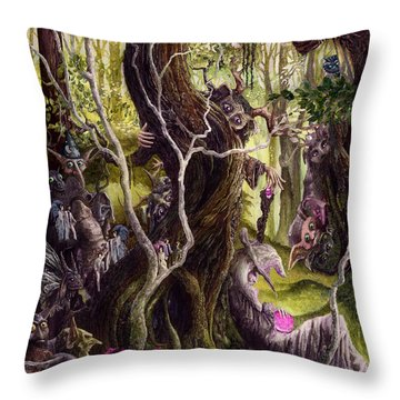 Throw Pillow featuring the painting Heist Of The Wizard's Staff by Curtiss Shaffer