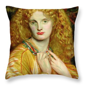 Helen Of Troy Throw Pillow by Dante Charles Gabriel Rossetti