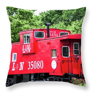 Throw Pillow featuring the photograph Helena Red Caboose by Parker Cunningham