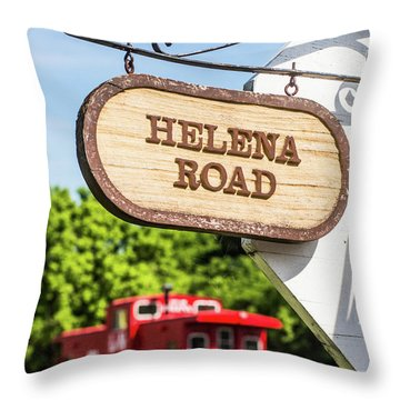 Throw Pillow featuring the photograph Helena Road Sign by Parker Cunningham