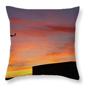 Helicopter And The Sunset Throw Pillow by Angi Parks