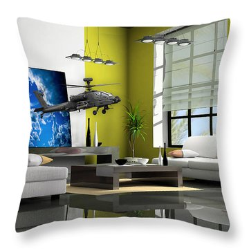 Helicopter Art Throw Pillow by Marvin Blaine