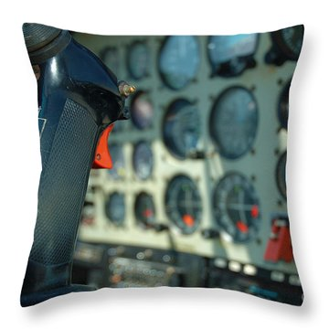 Helicopter Cockpit Throw Pillow by Micah May